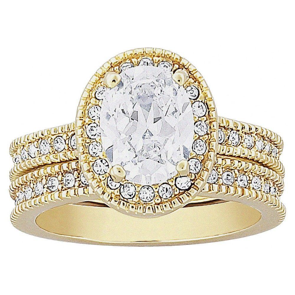 Vintage 2 Piece CZ Wedding Ring Set, Womenu0027s, Gold