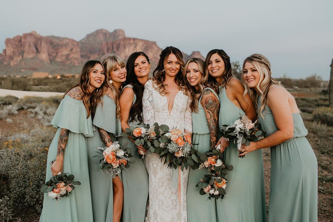 Dana Flanik On Instagram So Into The Dusty Sage Bridesmaid Dresses With The Pe Sage Bridesmaid Dresses Bridesmaid Dresses Dusty Sage Peach Bridesmaid Dresses