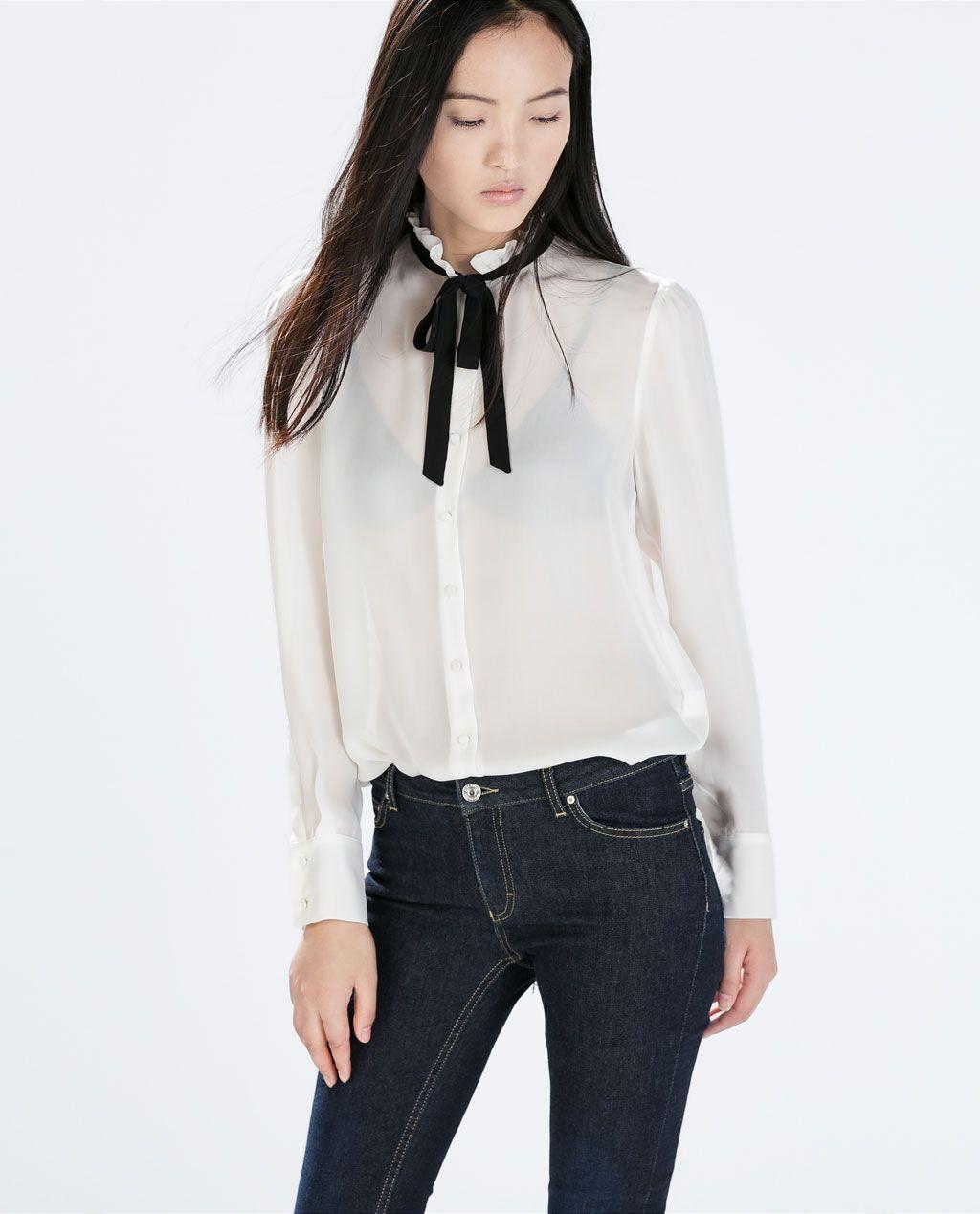 Contrast Tie-neck Silk Blouse - by Zara