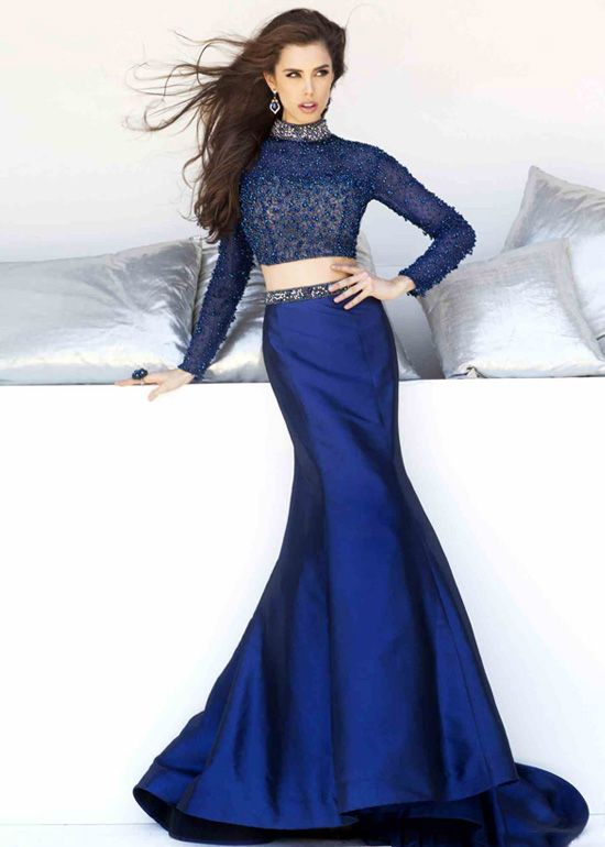 long sleeves two-piece beaded top open back navy prom dress | prom