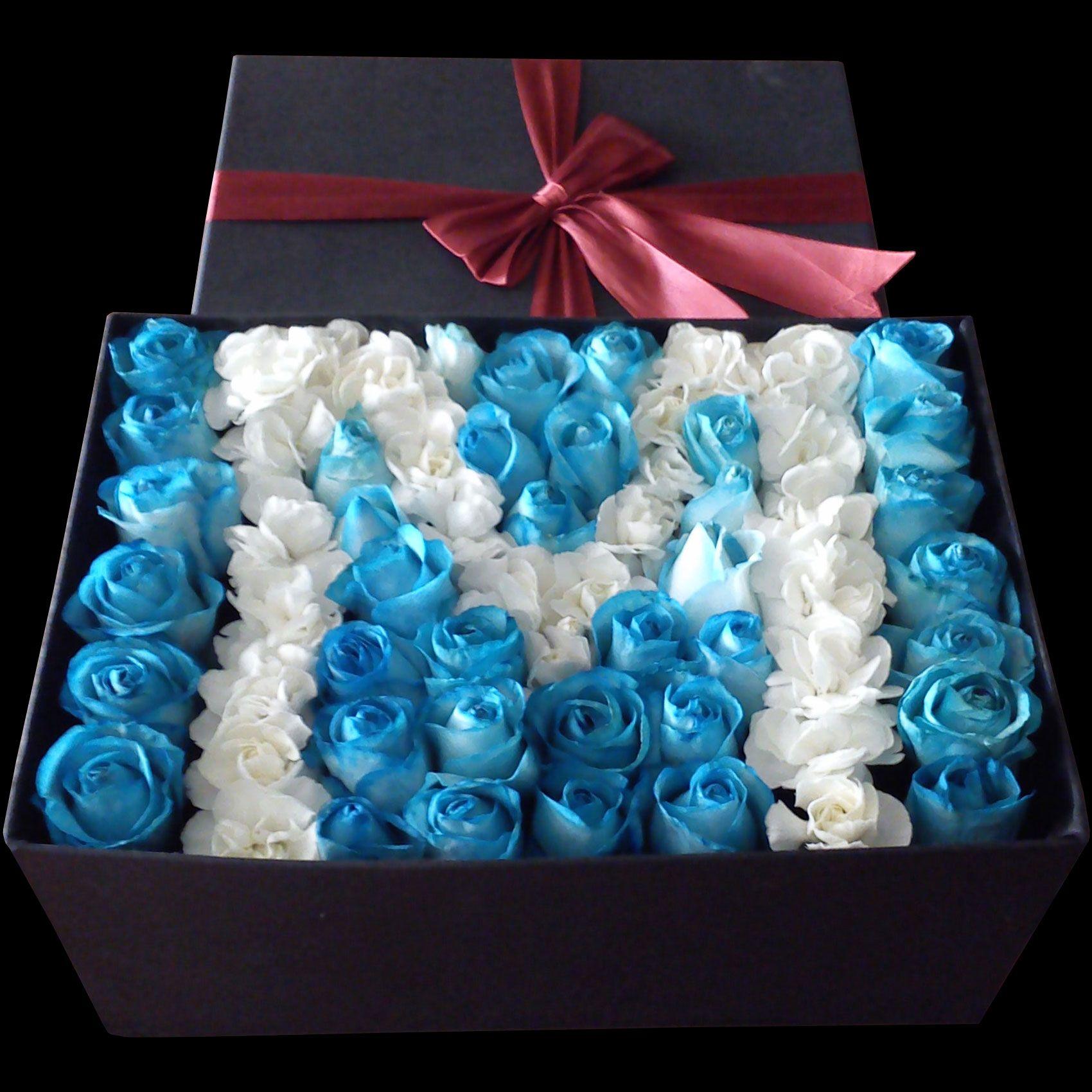 باکس گل رز آبی Persian Art Painting Flower Arrangements Rose