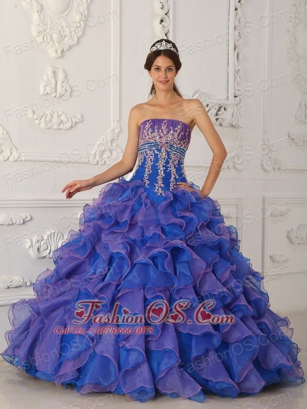 9e323f52378 Pretty Royal Blue and Purple Quinceanera Dress Strapless Organza Beading  and Appliques Ball Gown http   www.fashionos.com