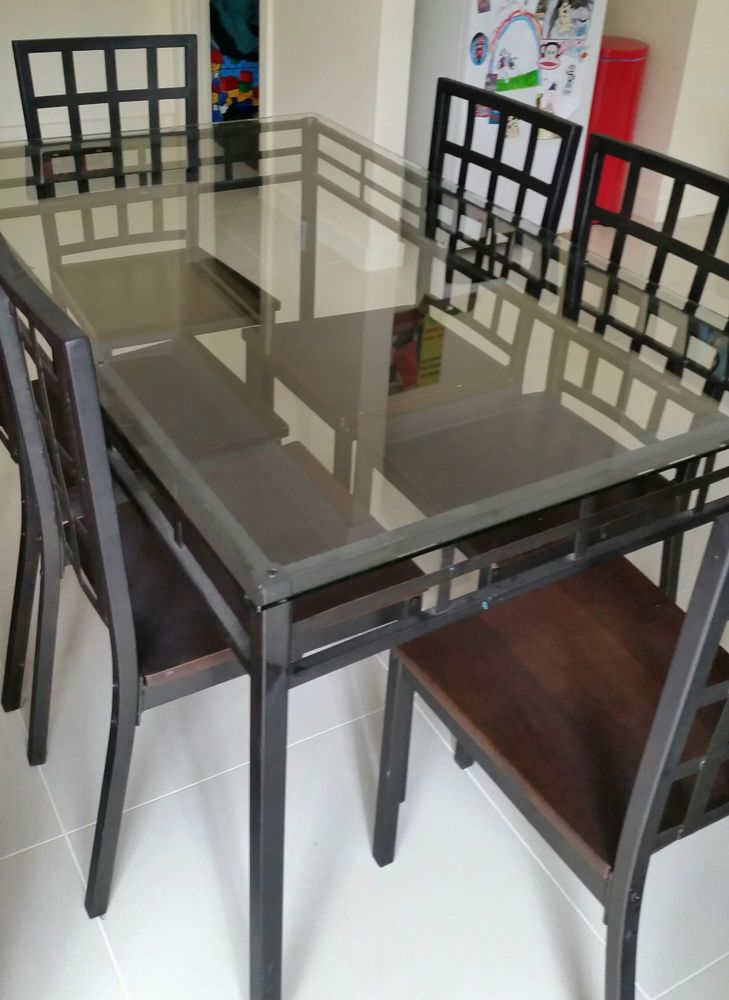 Modern Thick Glass Top Wrought Iron Dining Table 6 Chairs Indoors Outdoors Wrought Iron Dining Table Small Dining Room Set Dining Room Small