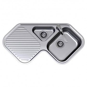 Clark Corner Stainless Steel Sink Right Hand Bowl 1 Tap Hole ...