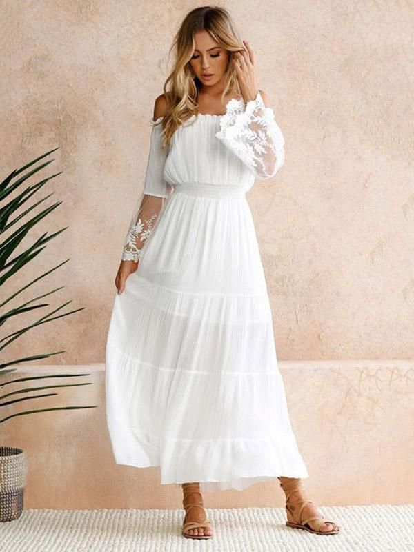 US$ 31.99 - Sexy Lace Split-joint Off-the-shoulder Flared Sleeves Maxi Dress - www.tangdress.com