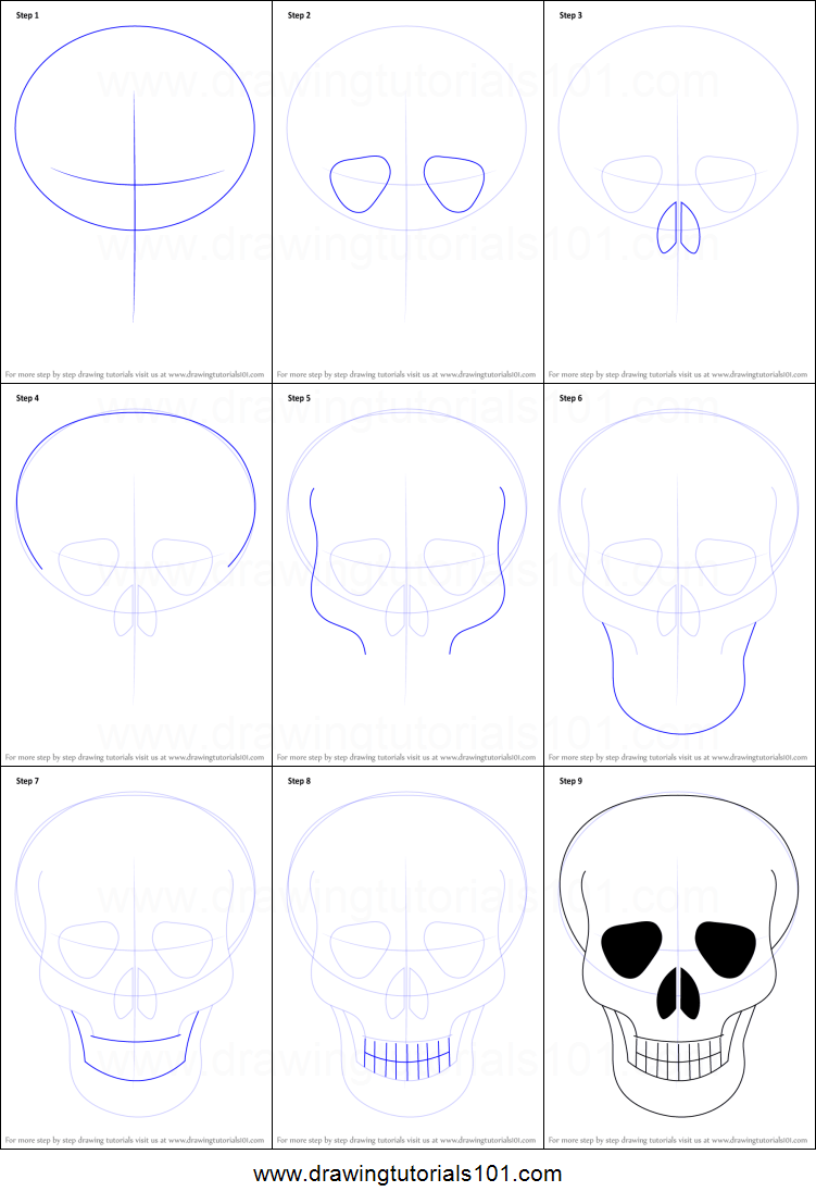 Skull Drawing Step By Step Skulls Drawing Easy Skull Drawings Skull Drawing