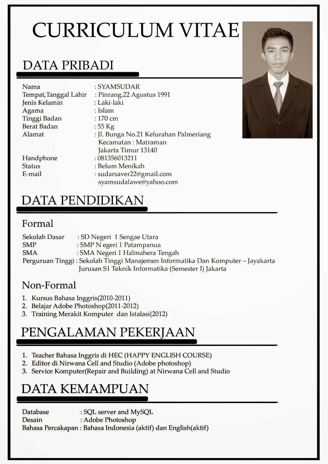 Curriculum Vitae Dalam Bahasa Indonesia