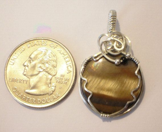 Mother of Pearl Pendant Wire Wrapped Brown in by jpatterson312, $35.00