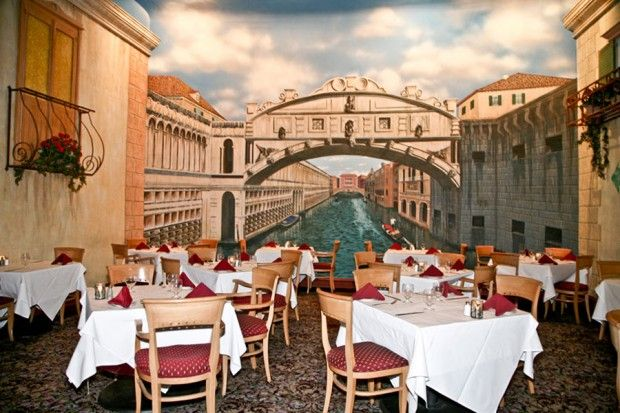 Romantic authentic italian restaurant interior design of