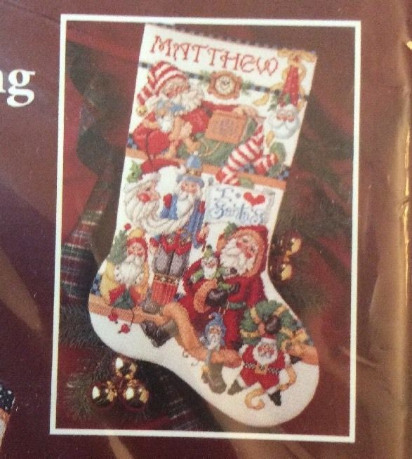 Bucilla I love Santas counted Cross stitch stocking Kit sealed Sandy Orton