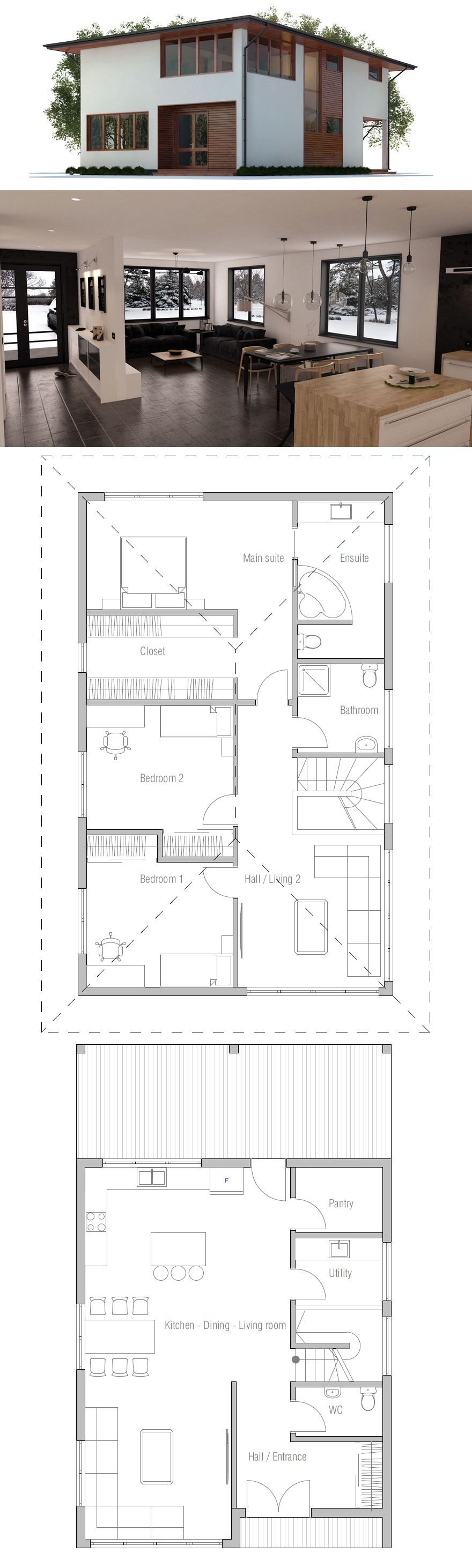 Narrow House Plan- 3 bedrooms/ 2.5 bathrooms/ living/ kitchen ...