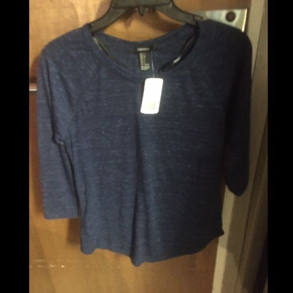 Forever 21 3/4 sleeve top Never worn. Navy blue. Not cropped. Forever 21 Tops Blouses