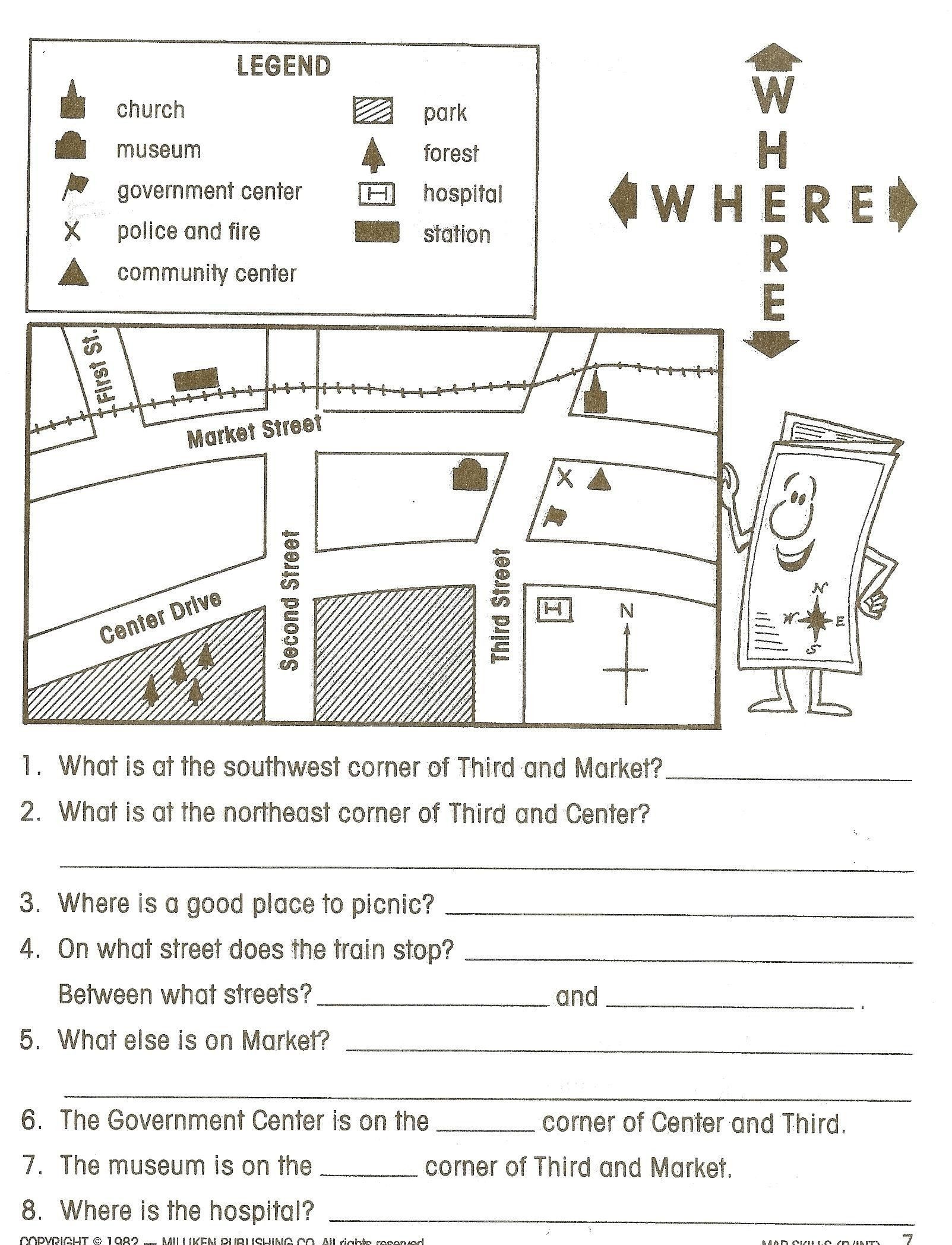 Free Map Skills Worksheets Pictures