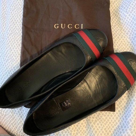 759d5fe3bf12 GUCCI FLATS LEATHER GG Ballerina~Near MINT Gucci Black Red Green Flats Size   EU