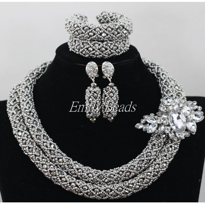 Click to Buy << Plain Silver Color Nigerian Wedding Beads Necklace ...