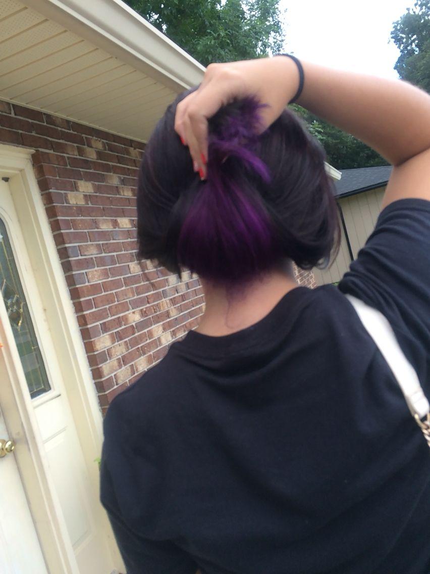 Purple Underneath Black Brown Hair Streaks Purple Underneath