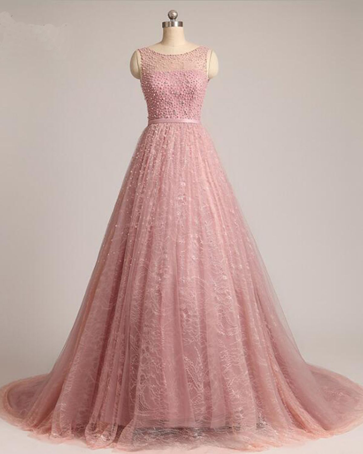 Spring pink lace long train evening dress pink formal prom dress