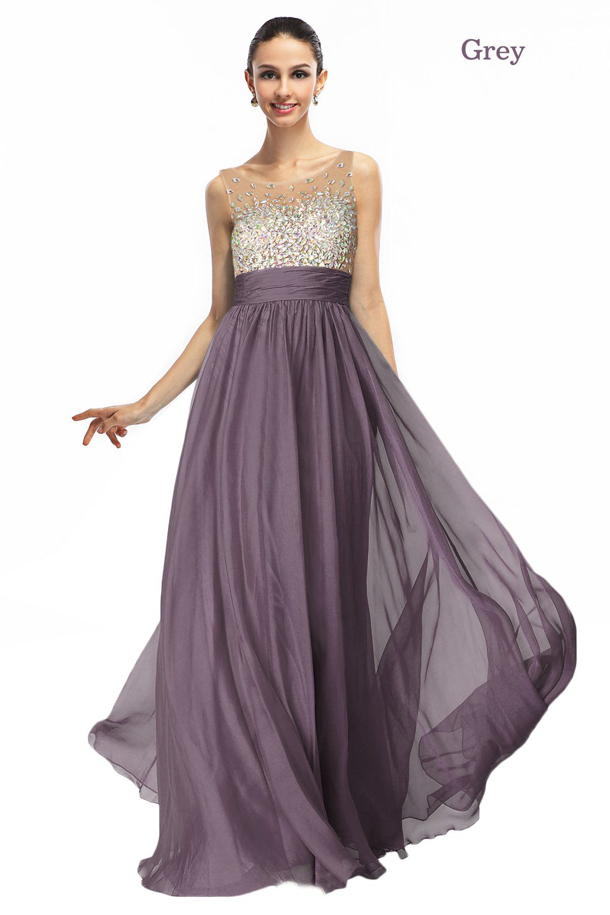 Amazon.com: Cocomelody Womens Elegant A-line Scoop Chiffon Dress ...