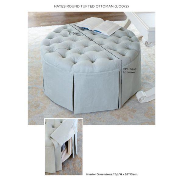 Phenomenal Hayes Round Tufted Ottoman Ballard Design Storage Ottoman Andrewgaddart Wooden Chair Designs For Living Room Andrewgaddartcom
