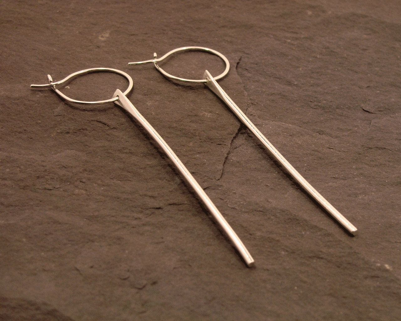 d6cf3dcd6 Minimalist Sterling Silver Wire Dangle & Drop Earrings, straight long bar  earrings, hoop earring wire, sterling silver, for her, handmade by ehtout  on Etsy