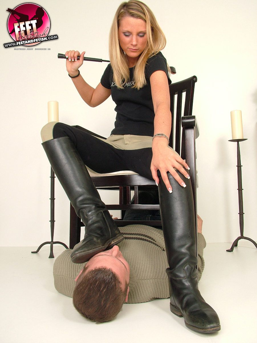 Lick her leather boots clean