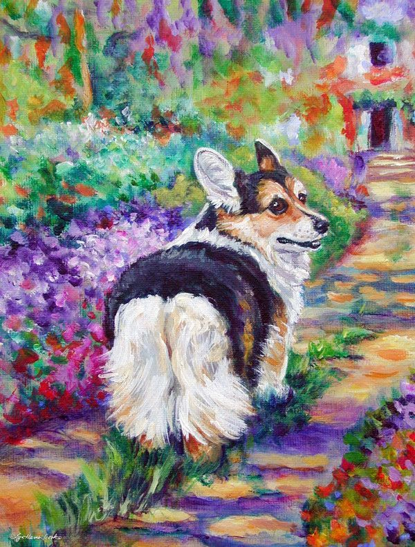 Corgi Garden Path 2-Sided Garden Flag