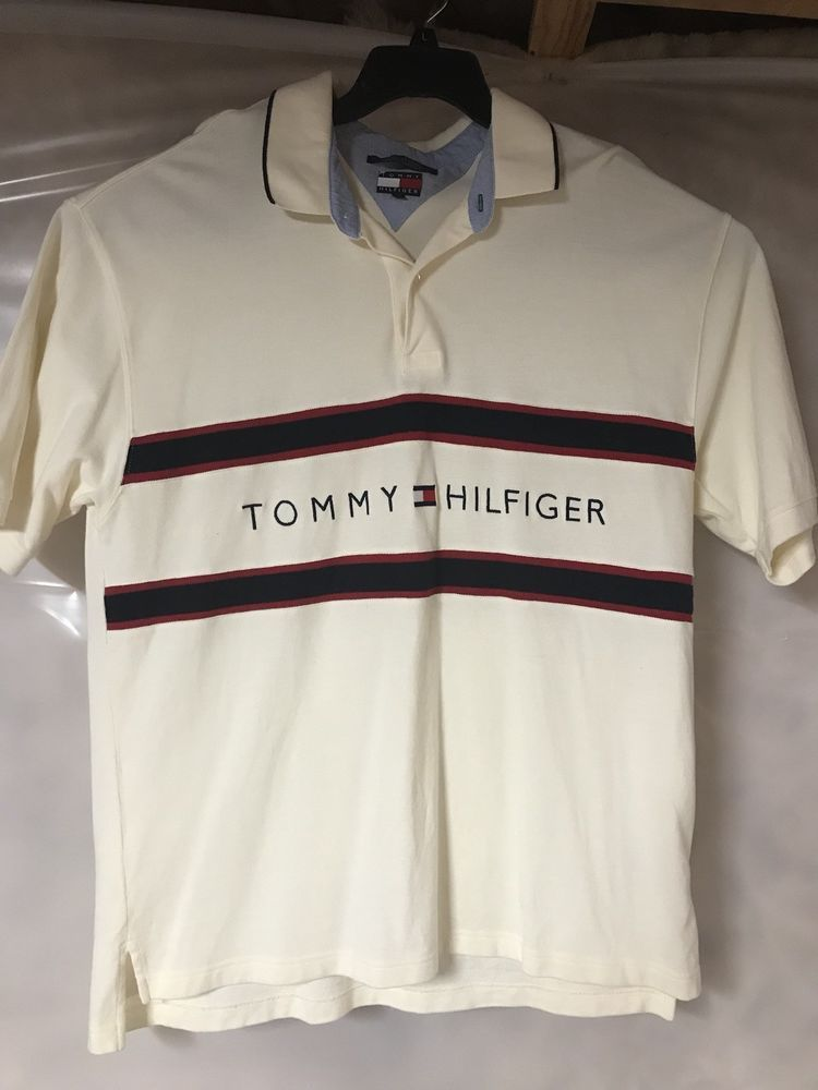 b3d37f805 VTG Tommy Hilfiger Polo Shirt 90s Spell Out Flag Colorblock Rugby Cream  Mens XXL #fashion #clothing #shoes #accessories #mensclothing #shirts (ebay  link)