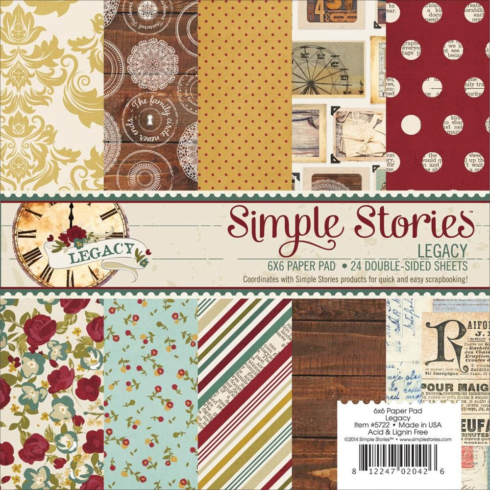Superior Paper Pads For Card Making Part - 10: Legacy 6x6 Paper Pad Simple Stories Family Woodgrain Antiques Flowers Ruler  Scrapbook Love Home Vintage Journal