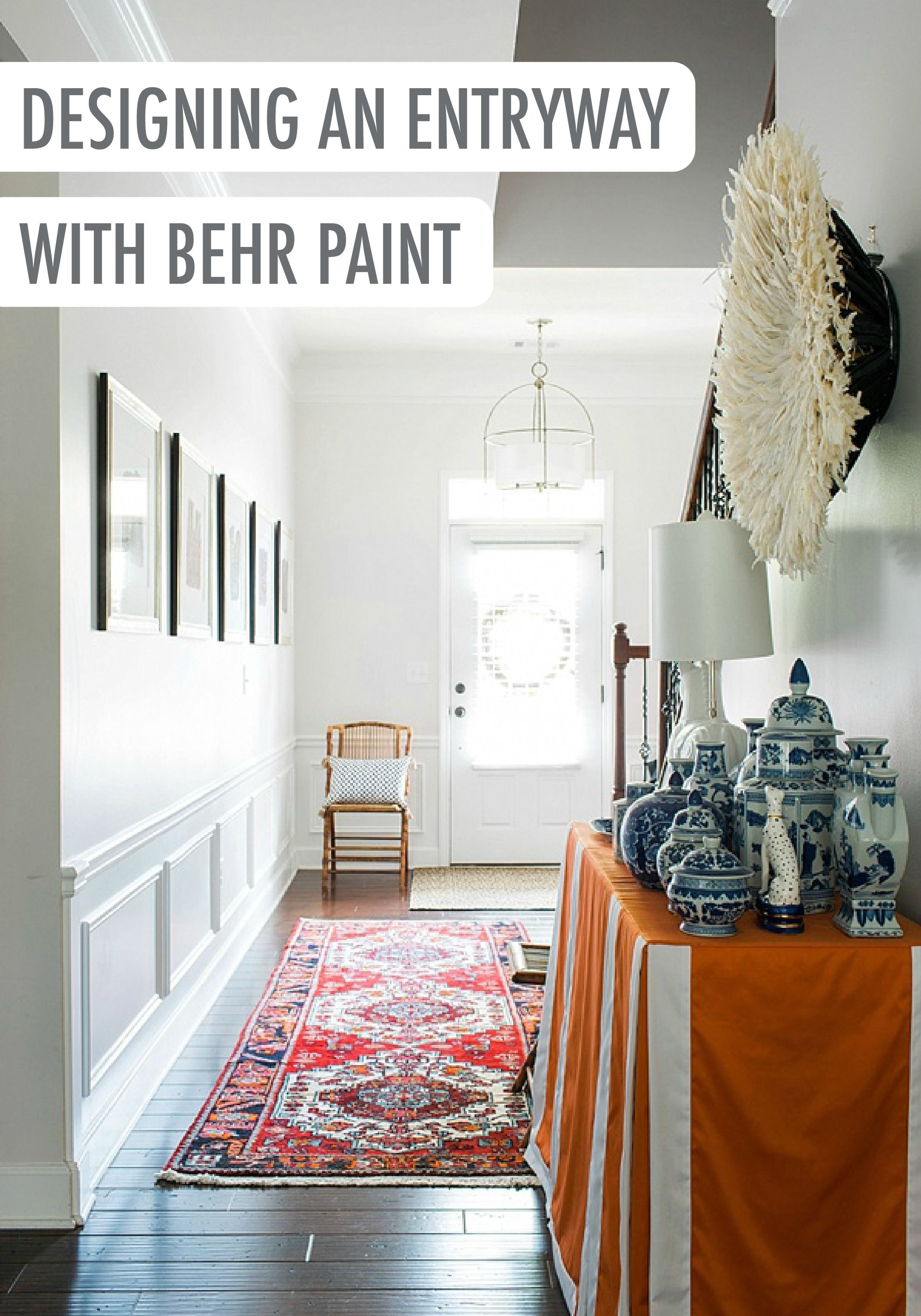 Designing An Eclectic Entryway In Your New Home Is Easy Simply Pair Unique Accessories Like Patterned Pottery With A Timeless Shade Of Gray Behr Paint Such