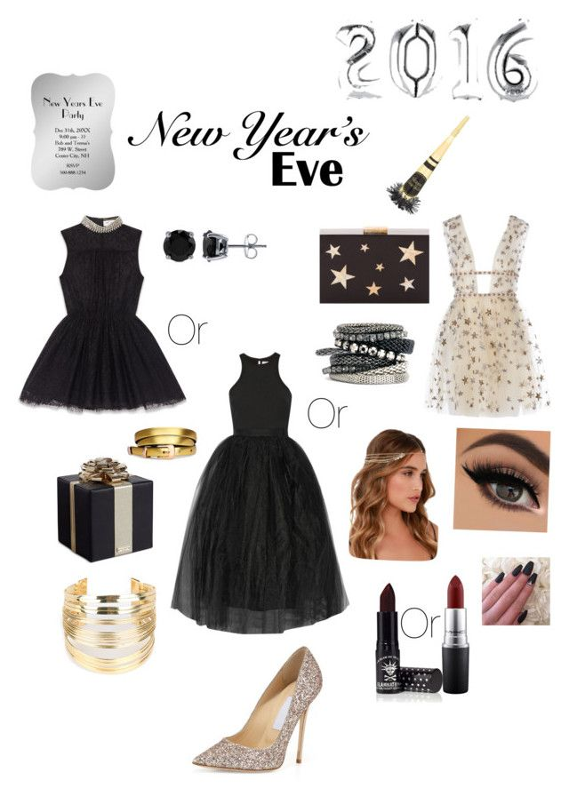 """""""Extravagant New Year's Eve Party"""" by kenzie-harvey on Polyvore featuring Jimmy Choo, Yves Saint Laurent, Elizabeth and James, Kate Spade, Kayu, WithChic, BERRICLE, H&M, Lulu*s and MAC Cosmetics"""