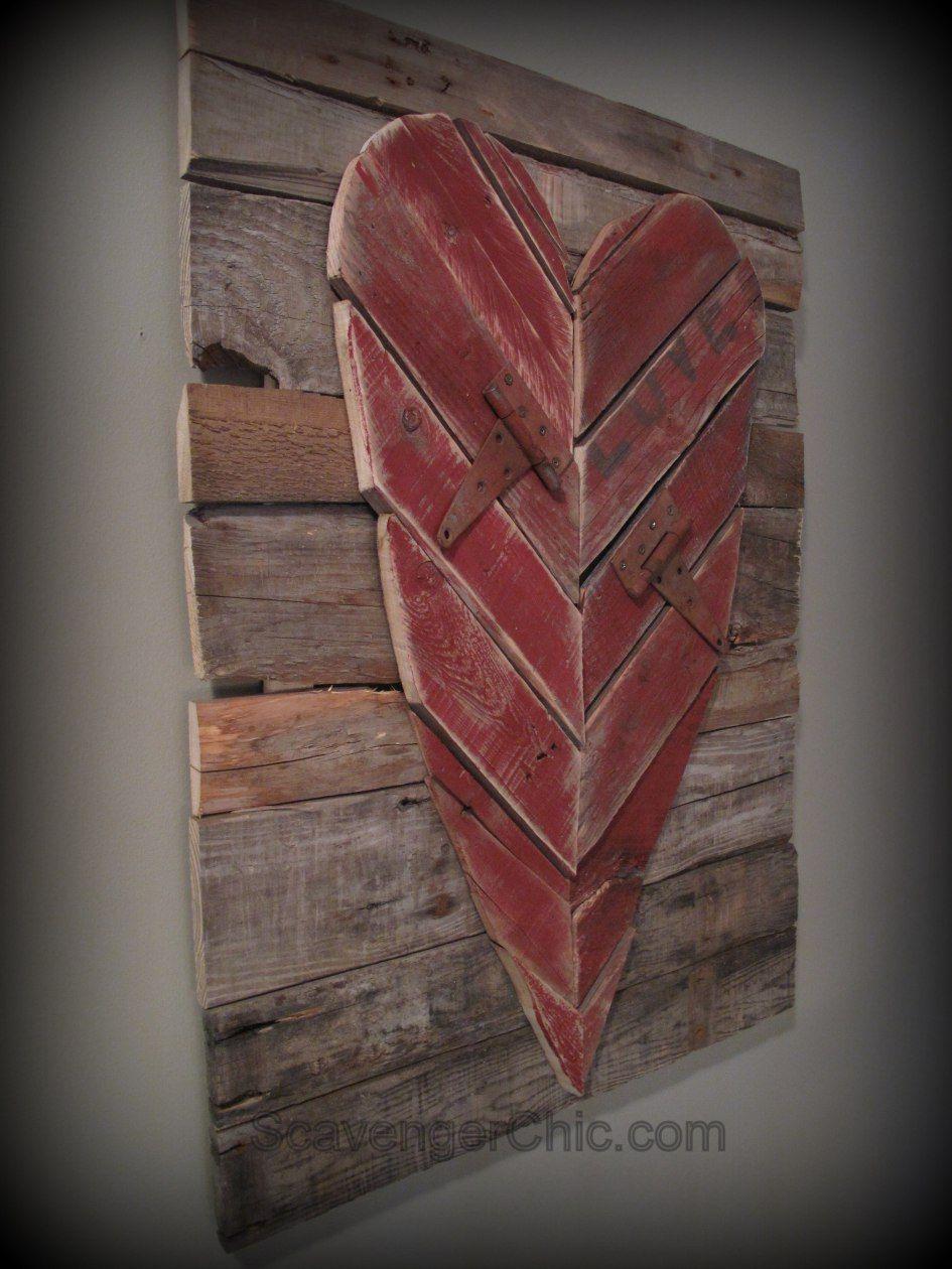Reclaimed Pallet Heart Rustic Heart Reclaimed Wood Heart Rustic