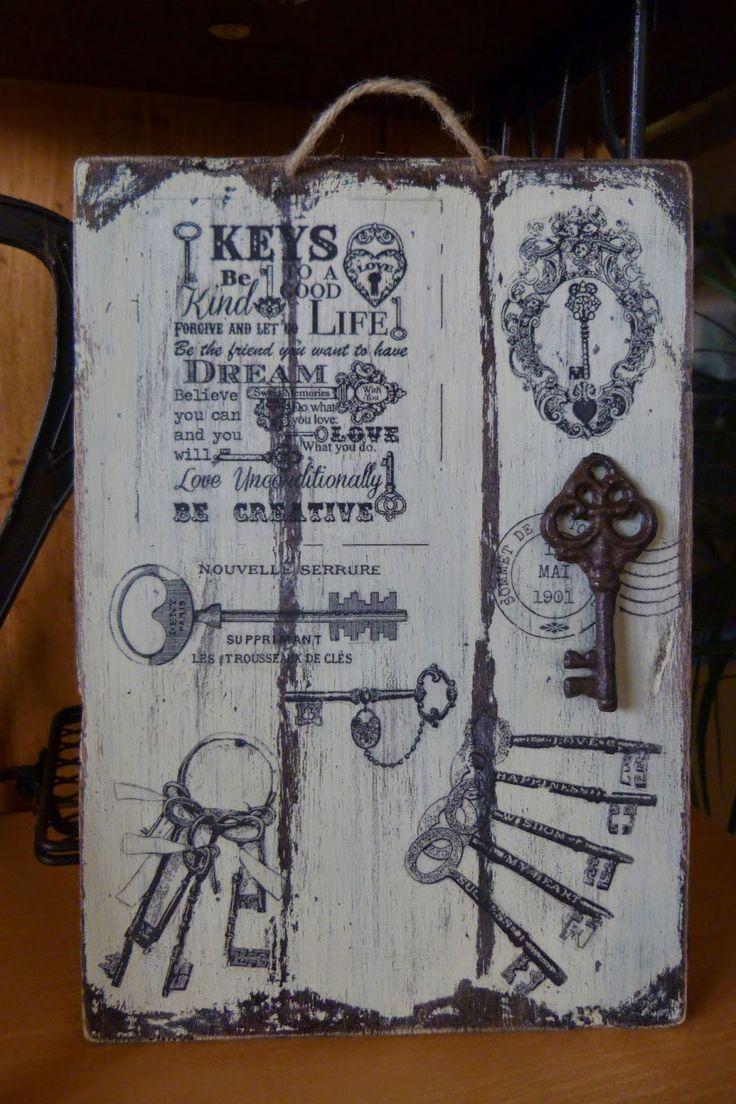 Cuadro con llaves recetas pinterest cuadro madera - Cuadros vintage madera ...