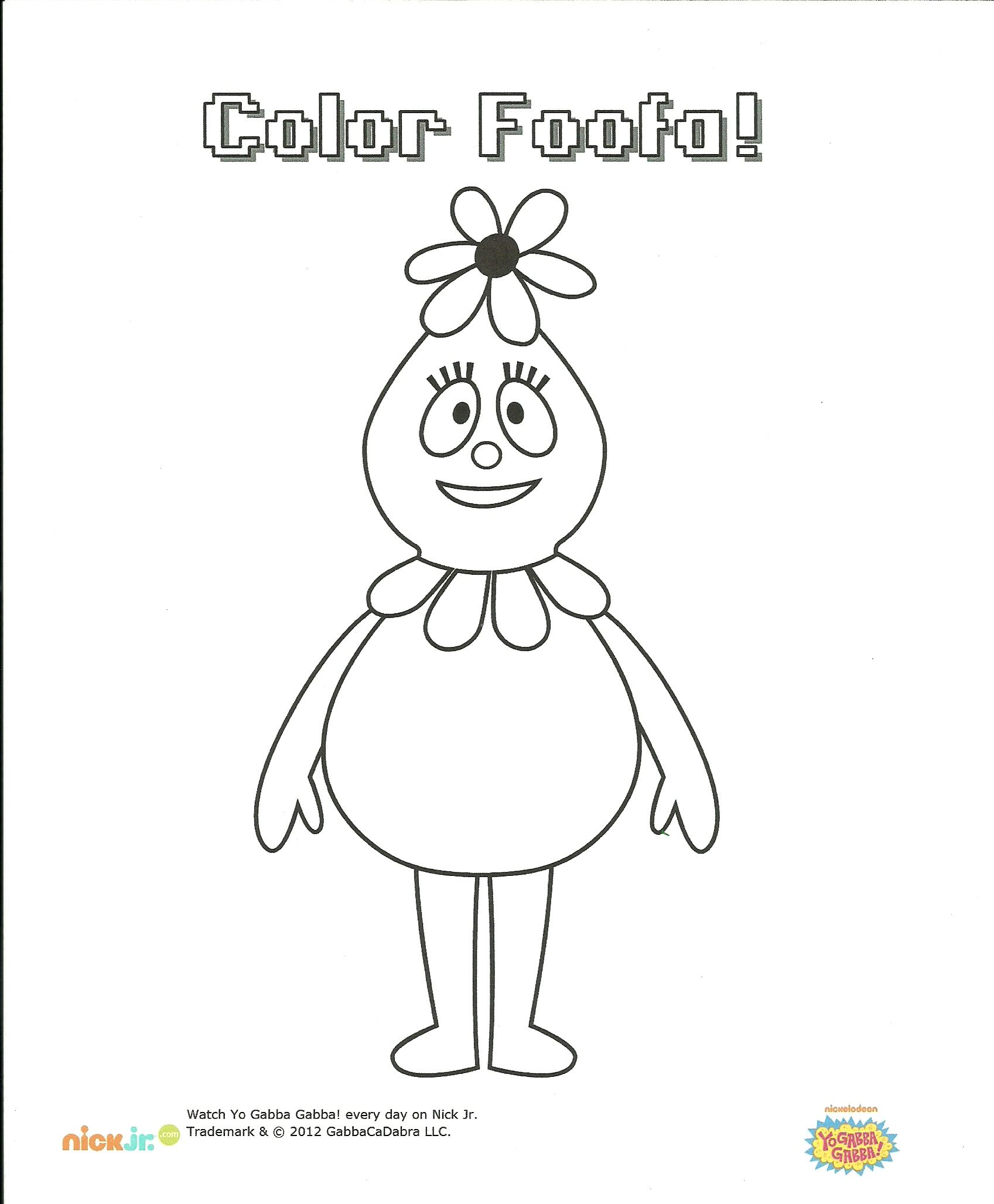 Foofa Coloring Page Coloring pages, Yo gabba gabba, Color