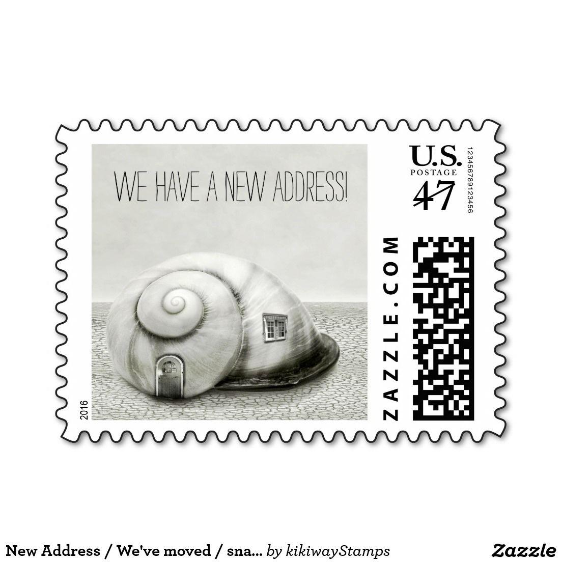 New Address Weve Moved Snail House Funny Postage Stamp
