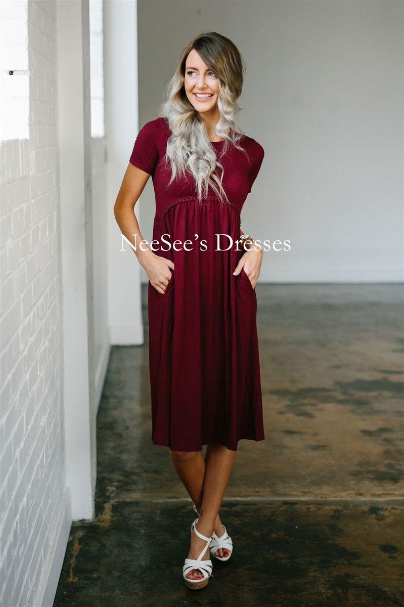 Modest Bridesmaid Dresses Maroon