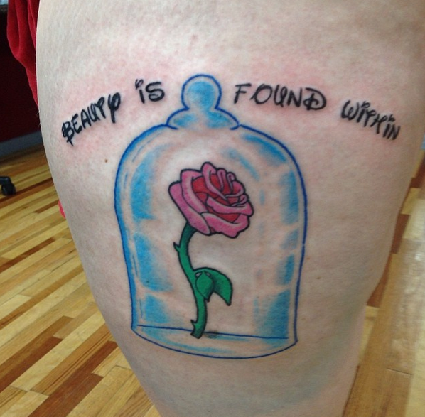 The Beauty and the Beast rose. | 41 Disney Tattoos That'll Make You Want To Get Inked