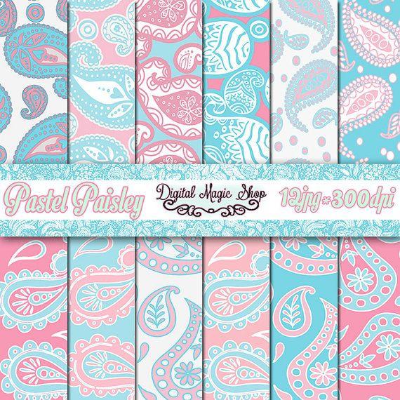 Pastel PAISLEY Pattern Digital Papers Pack  by DigitalMagicShop
