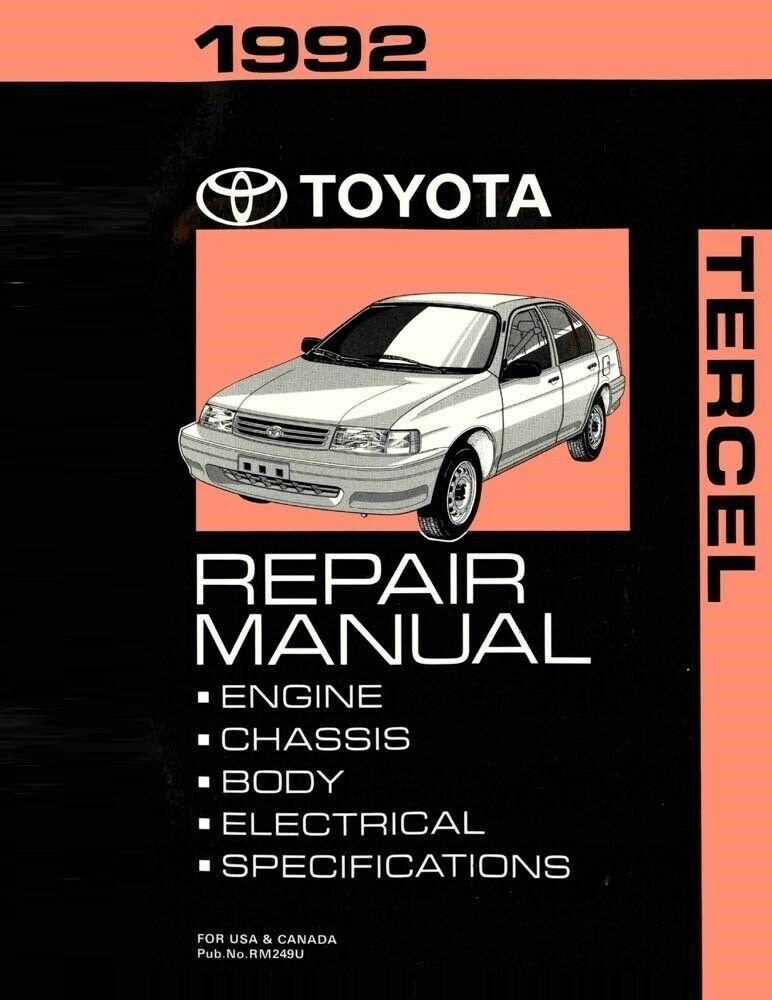 1992 Toyota Tercel Shop Service Repair Manual Toyota Tercel Repair Manuals Repair