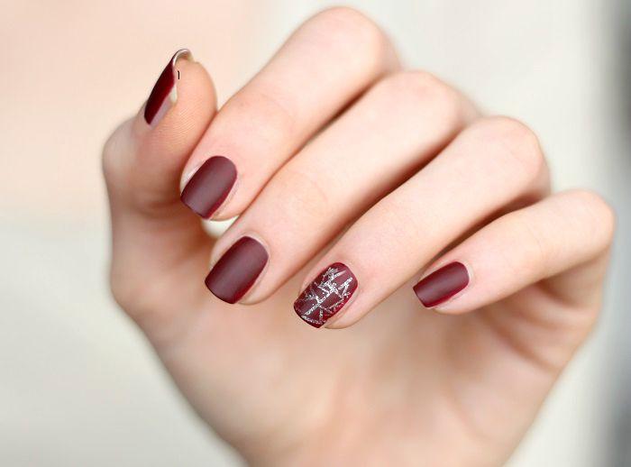 matt dunkelrot silber nailart