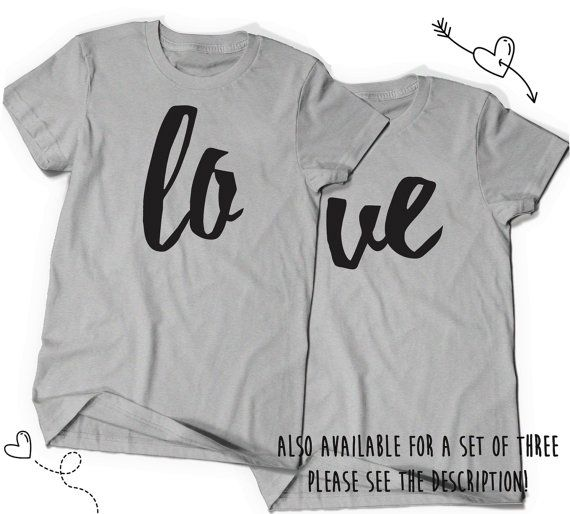 Love LO VE Matching Valentines Day Shirt Set