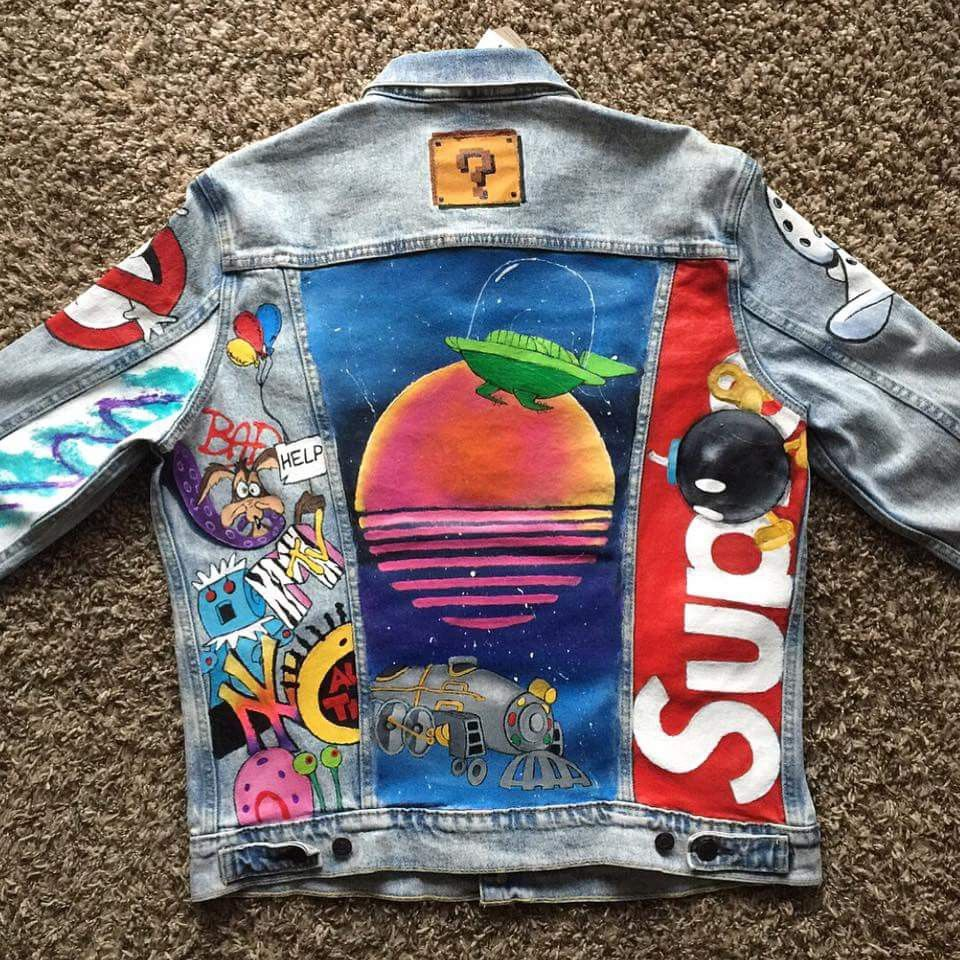 Pin By Cease Elise On Painted Jacket Denim Jacket Diy Paint Diy Denim Jacket Diy Jacket [ 960 x 960 Pixel ]