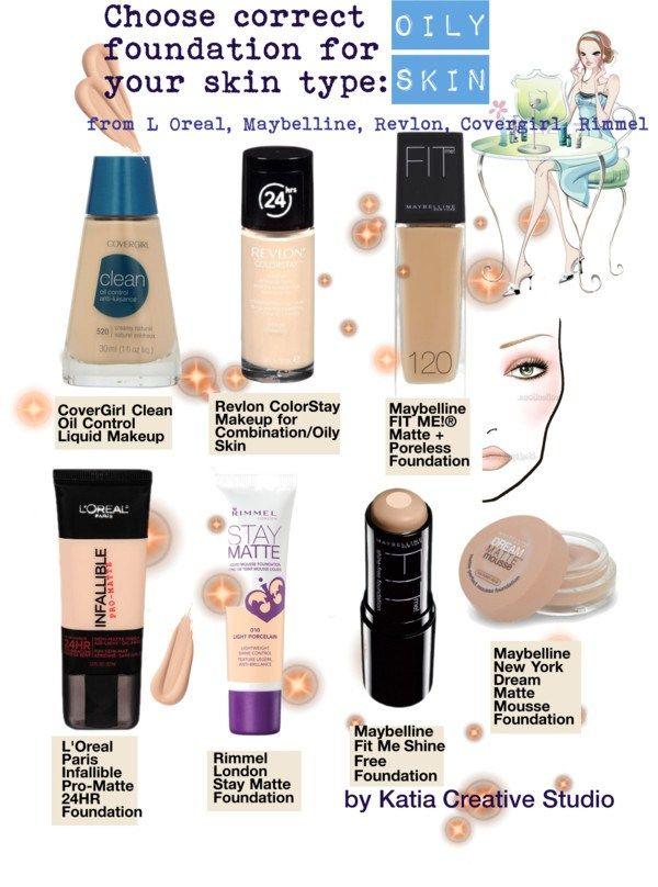 Choose correct foundation for oily skin, Revlon, Rimmel ...