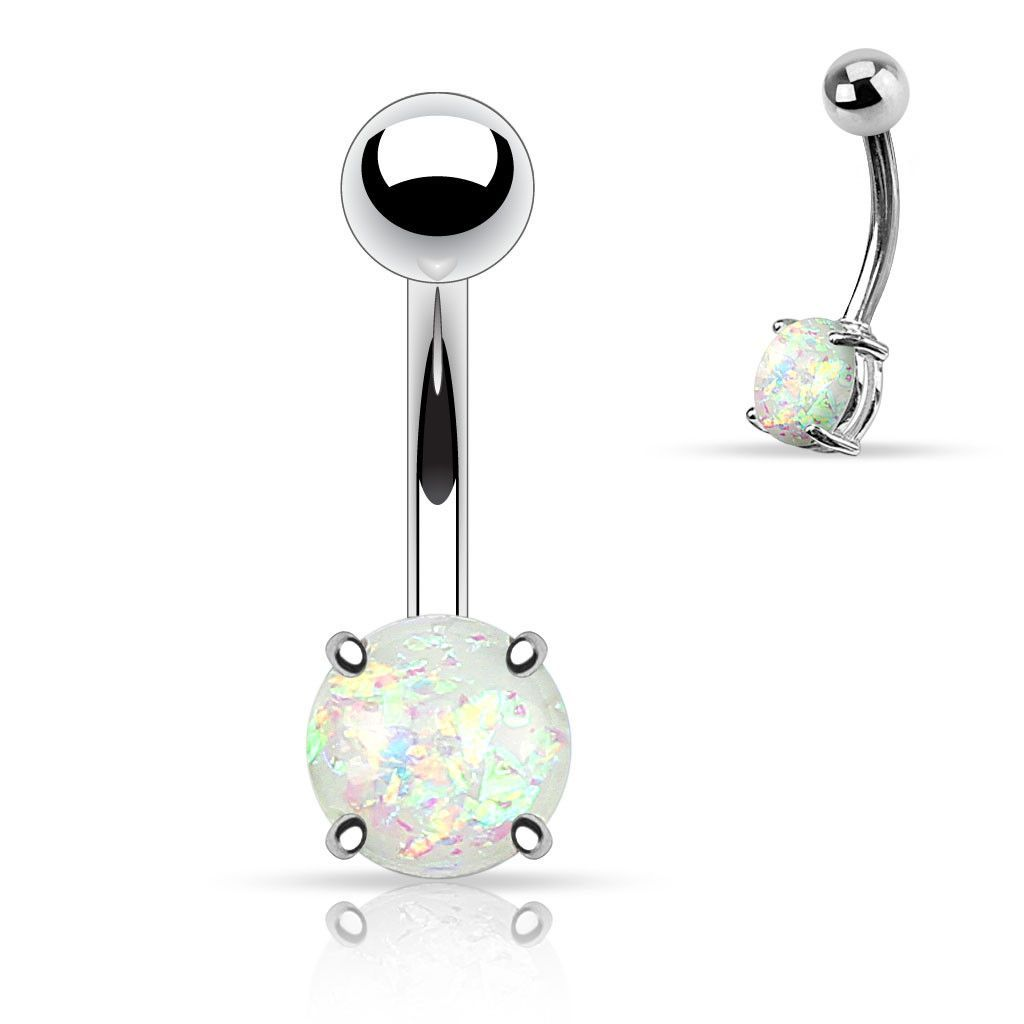 Belly without piercing  White Opal Belly Button Rings Non Dangle Silver Belly Ring  White