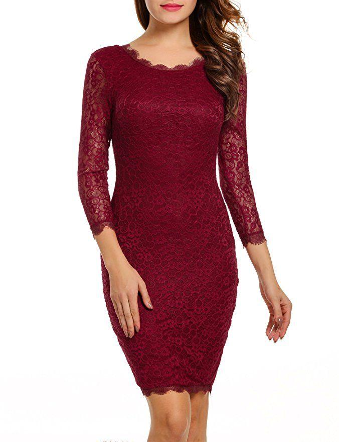 f4abc9a0132 ACEVOG Women Ladies Package Hip Knee Length Floral Lace Pencil Party Dress  (Medium