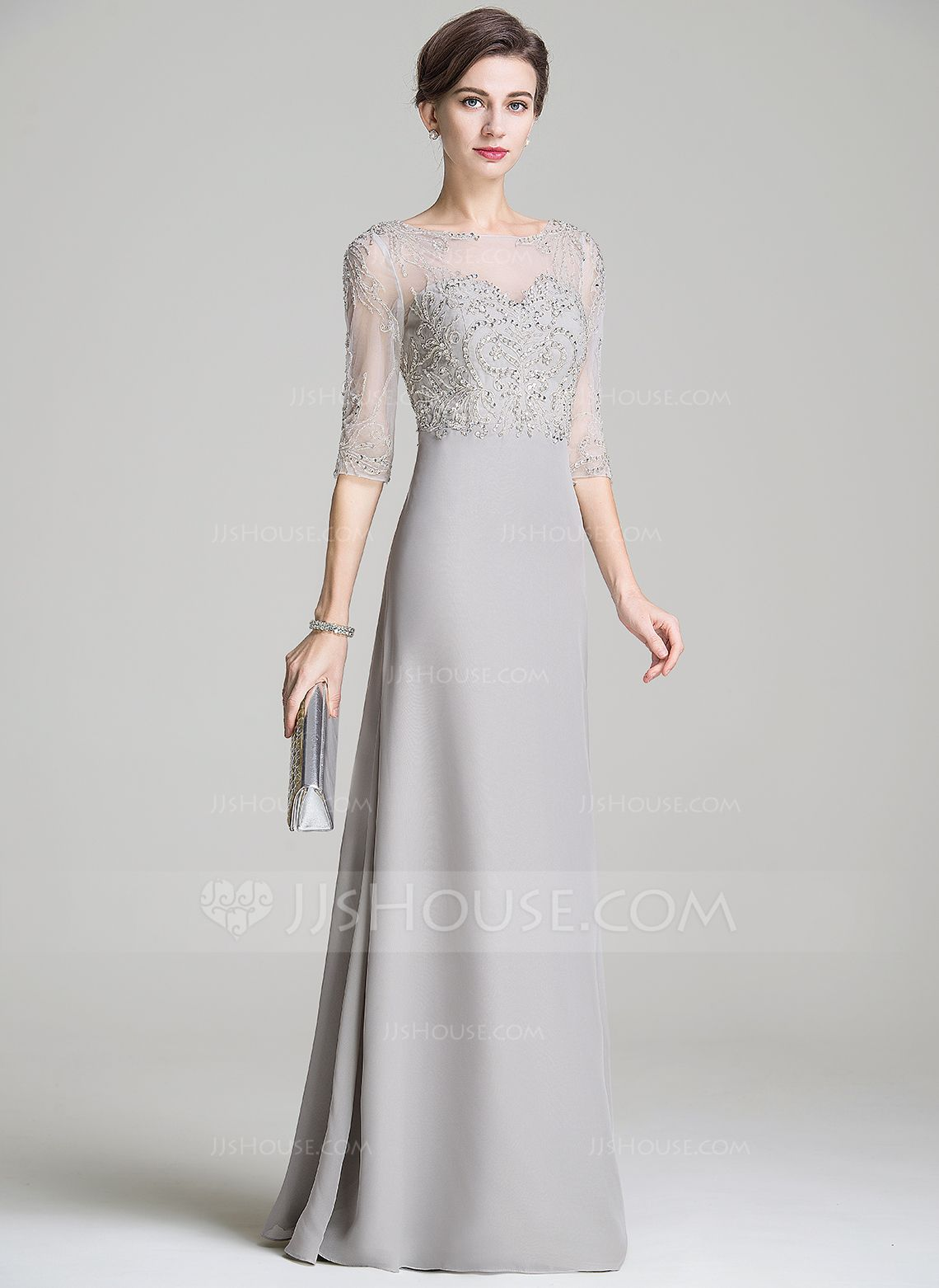 4cc4f4232c783 A-Line/Princess Scoop Neck Floor-Length Beading Appliques Lace Sequins  Zipper Up Sleeves 1/2 Sleeves No 2016 Silver Spring Summer Fall General  Plus Chiffon ...