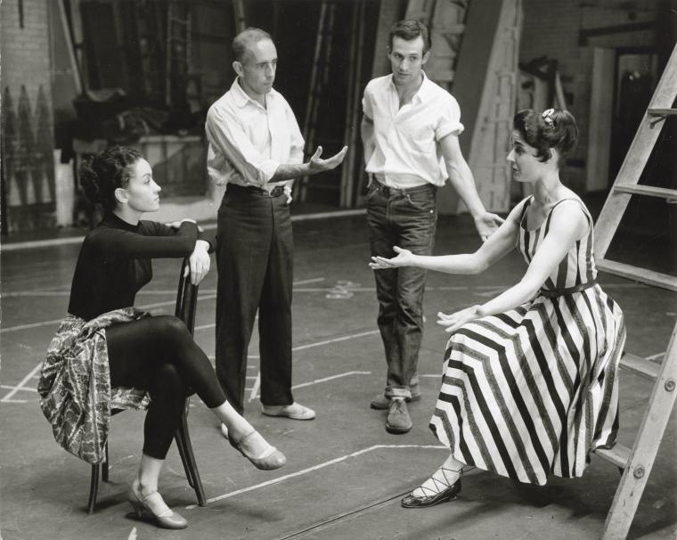Chita Rivera, Jerome Robbins (director/choreographer), Larry Kert, Carol Lawrence on the set of West Side Story, 1961.