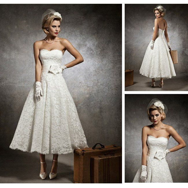 New Design Short Strapless Mid Length Wedding Dress Lace With Sash CW223 In Dresses