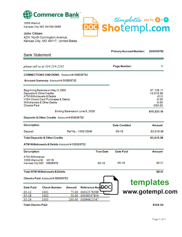 Usa Commerce Bank Proof Of Address Statement Template In Word And Pdf Format Statement Template Commerce Bank Bank Statement