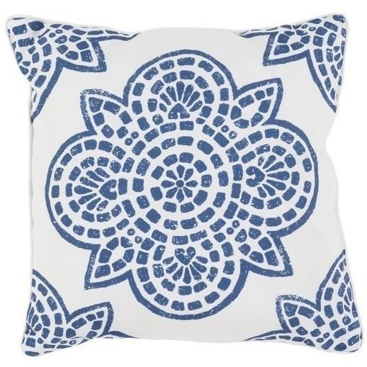 Inspired by traditional block print motifs, our medallion design features rich indigo blue atop an ivory background. These durable polyester outdoor patio pillows are outdoor safe, water and soil repe