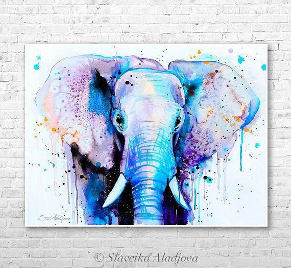 Blue Elephant Head Watercolor Painting Print By Slaveika Aladjova